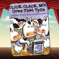"""""""Click, Clack, Moo"""" book cover with theater background"""